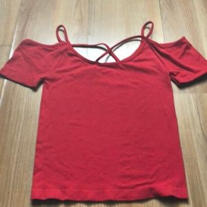 26.Red crop top